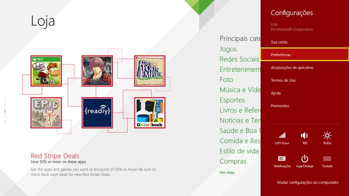Escolha a opção Preferências para fazer os últimos ajustes na Windows Store (Foto: Reprodução/Elson de Souza)