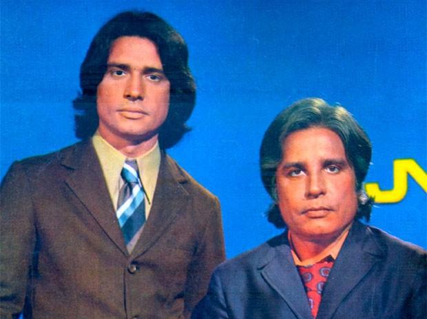 Cid Moreira e Sérgio Chapelin no Jornal Nacional nos anos 70 (Foto: TV Globo/Divulgação)