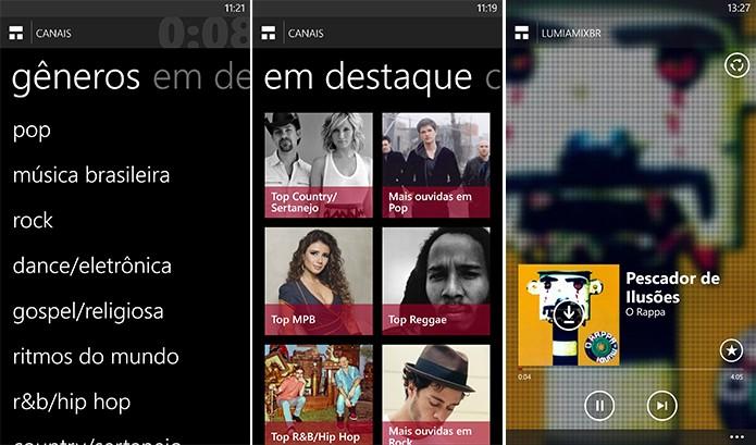Nokia MixRadio tem ranking por cidades brasileiras, canais de destaques e com sugestões de redes sociais (Foto: Reprodução/Elson de Souza)