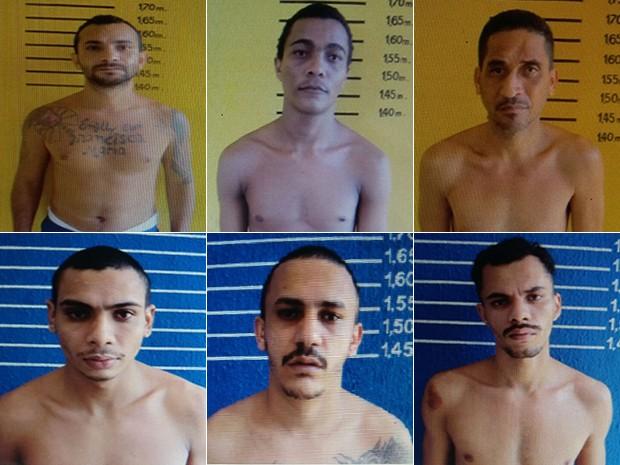 Direção divulgou a foto dos seis presos que fugiram da Penitenciária de Alcaçuz (Foto: Divulgação/ Alcaçuz)