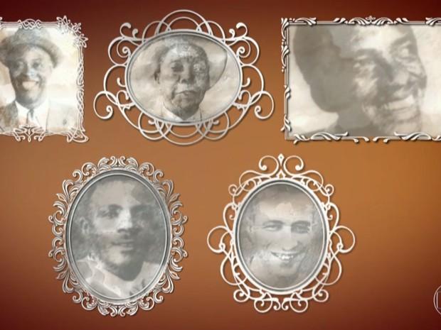 Turma do Estácio (da esquerda para a direita, de cima para baixo): Donga, João da Baiana, Ismael Silva, Marçal e Bide (Foto: Reprodução/Globo)
