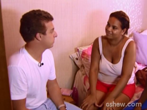 Após 4 anos, Luciano volta à casa de Raimunda (Foto: Caldeirão do Huck/TV Globo)