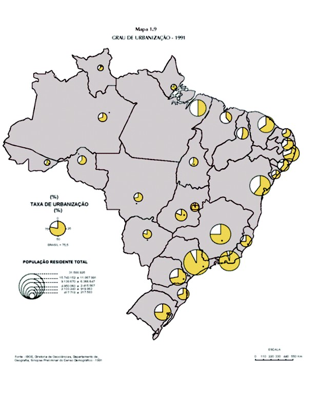Mapa com grau de urbanização. (Foto: IBGE)
