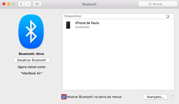 Ative o atalho para as funções de Bluetooth (Foto: Reprodução/Paulo Alves)