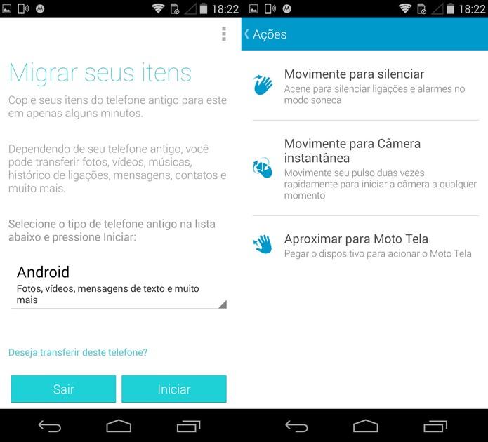 Controle por gestos e recursos Migração Motorola (Foto: Reprodução)