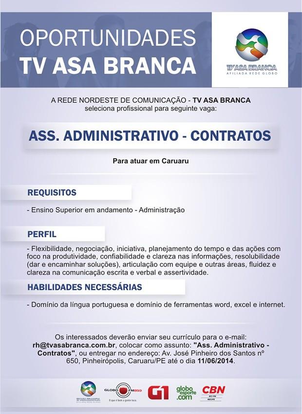 Oportunidade de vaga na TV Asa Branca (Foto: Divulgação/ TV Asa Branca)