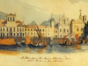 Retratação do porto do Rio de Janeiro em 1808 (Foto: Divulgação)