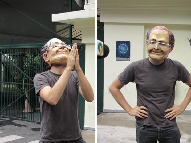 Manifestante vestido com máscara do rosto do governador Geraldo Alckmin  (Foto: Letícia Macedo/ G1)