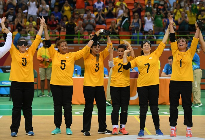Brasil e Ucrânia no goalball da Paralimpíada do Rio 2016 (Foto: André Durão)