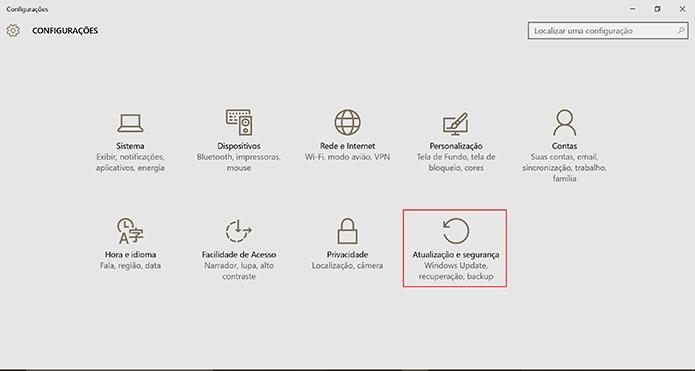 Windows 10 Anniversary Update pode ser baixado em Atualização e segurança (Foto: Reprodução/Elson de Souza)