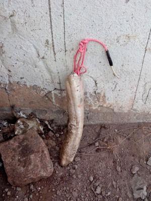 Explosivos foram encontrados na base do muro na parte externa do presídio (Foto: Divulgação/Polícia Civil)