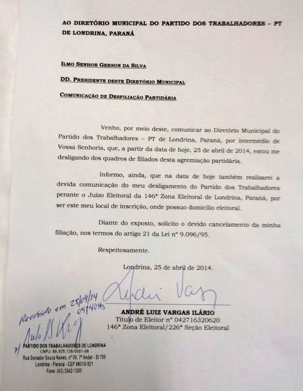 A carta de desfiliação apresentada por André Vargas ao diretório do PT em Londrina (Foto: Reprodução)