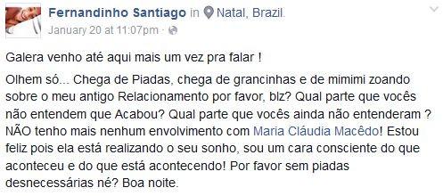 Fernando Santiago, ex-namorado de Maria Cláudia do BBB, faz desabafo na web (Foto: Reprodução Facebook)