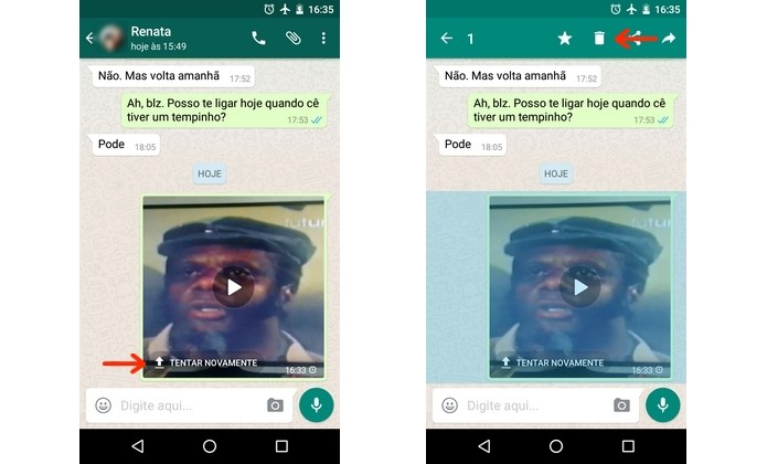 Eliminação de vídeo do chat do WhatsApp (Foto: Reprodução/Raquel Freire)