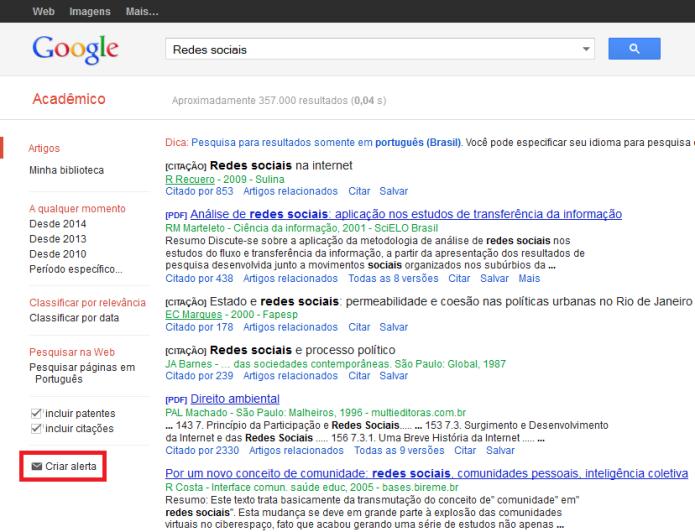 Atalho para a criação de alerta no Google Acadêmico (Foto: Reprodução/Lívia Dâmaso)