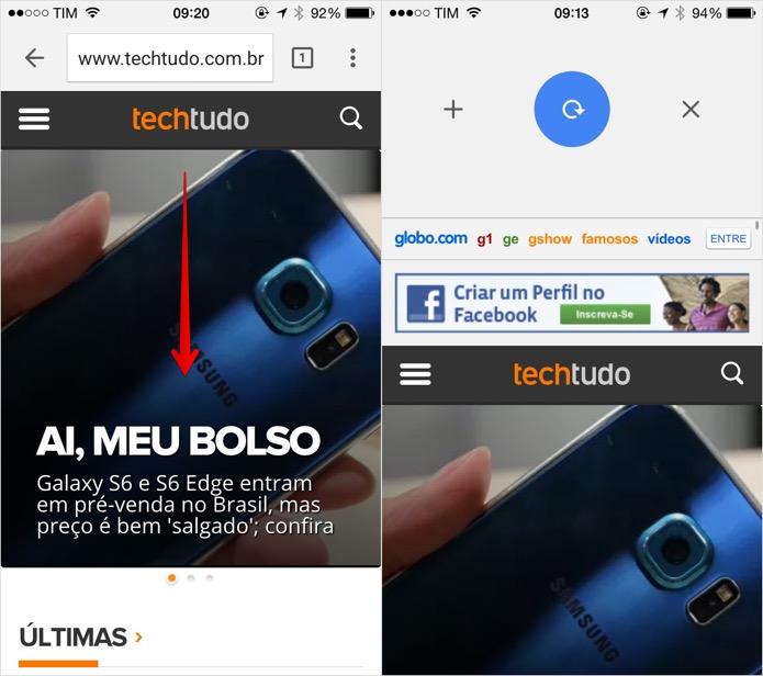 Deslize a página para baixo para acessar os novos botões (Foto: Reprodução/Helito Bijora)