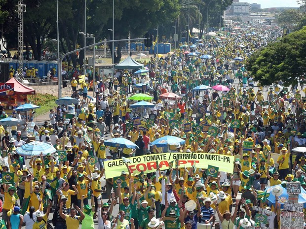 Vista geral da área destinada ao protesto pró impeachment da presidente Dilma Rousseff, na Esplanada dos Ministérios, em frente ao Congresso Nacional, em Brasília (Foto: Daniel Teixeira/Estadão Conteúdo)