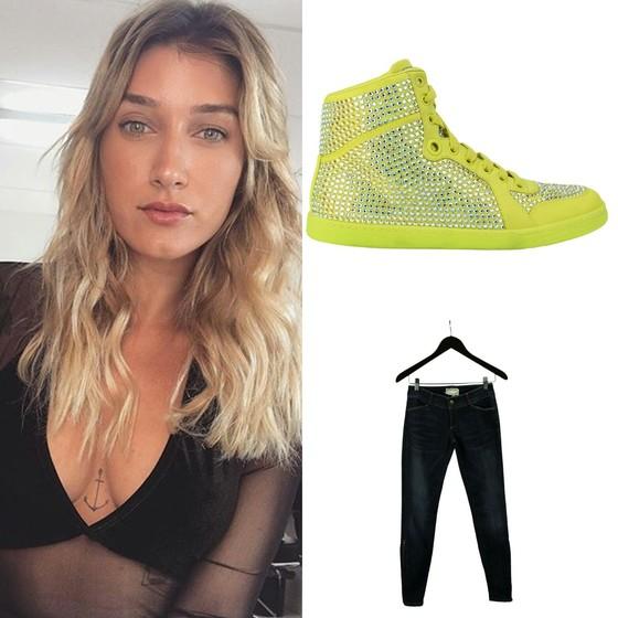 Gabriela Pugliesi também entra na onda do desapego e anuncia tênis da Gucci (R$ 1.190) e calça da Current Elliot (R$ 199) (Foto: Divulgação)