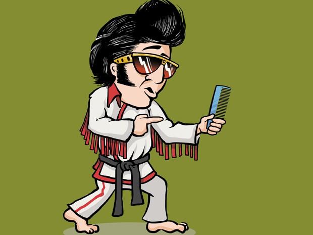 """Elvis é exemplo de um bom cuidado com os cabelos. Veja o trecho do livro sobre ele: """"O Rei do Rock! Elvis também lutava karatê, fazia filmes e estava sempre penteando seu grande topete, que fazia muito sucesso. É importante estar sempre com os cabelos bem penteados."""" (Foto: Divulgação)"""