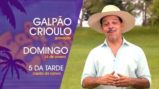 'Galpão Crioulo' grava na Arena de Verão da RBS TV, em Capão da Canoa, neste domingo (15)