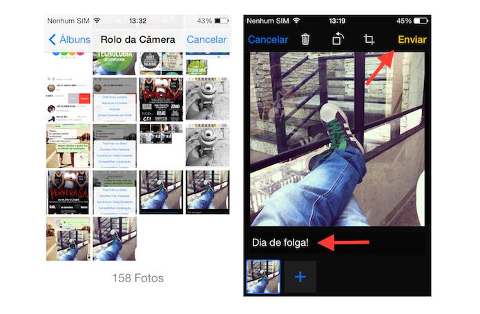 Inserindo legenda em uma foto que será enviado pelo WhatsApp no iOS (Foto: Reprodução/Marvin Costa)
