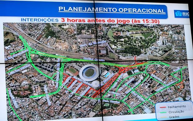 esquema de trânsito e torcida dentro do Maracanã (Foto: Rafael Cavalieri)