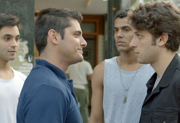 Rafael e Ivan sempre são provocados por Guto e Fred (Foto: TV Globo)