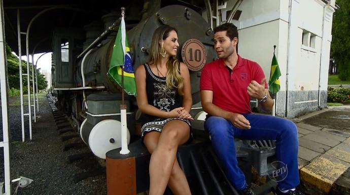 Pedro e Aline visitam o Museu Ferroviário, que reúne a história da antiga linha de ferro Sorocabana (Foto: reprodução EPTV)