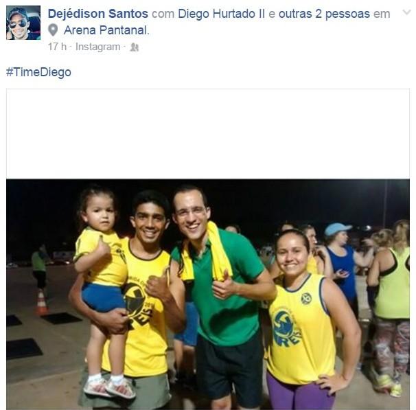 E a família do Dejédison também escolheram o Time Diego (Foto: arquivo pessoal)