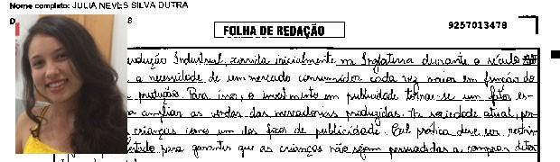 Trecho de redação de Júlia Neves Silva Dutra, Minas Gerais. (Foto: Reprodução/Divulgação)