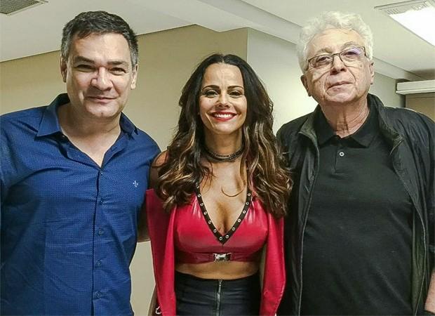 Francisco Patrício, Viviane Araújo e Aguinaldo Silva (Foto: Reprodução/Facebook)