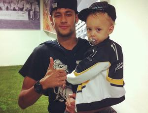 Neymar e Davi Lucca - Vestiário - Santos x Crac (Foto: Reproduçã/Instagram)