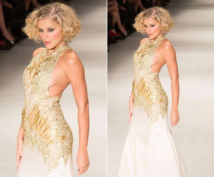 O vestido da Mayra também rende uma ótima inspiração para noivas a partir dos 40 anos (Foto: Felipe Monteiro / Gshow)
