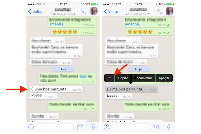 Sinalizando uma mensagem no WhatsApp pelo iPhone (Foto: Reprodução/Marvin Costa)
