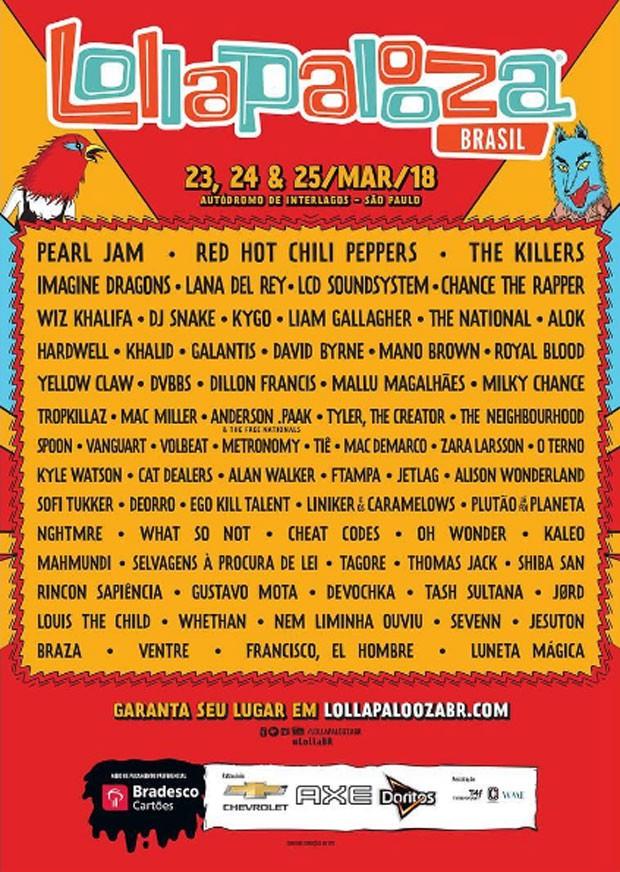 Line-up Lollapalooza Brasil  (Foto: Reprodução/Instagram)