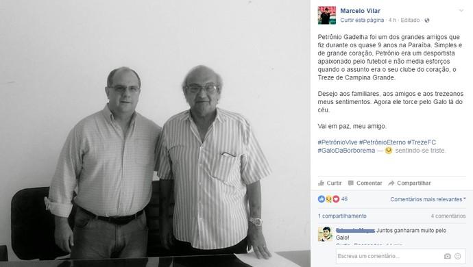 Petrônio Gadelha, Marcelo Vilar (Foto: Reprodução / Facebook)