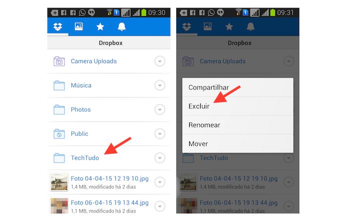 Iniciando o processo de exclusão de um arquivo no Dropbox para Android (Foto: Reprodução/Marvin Costa)