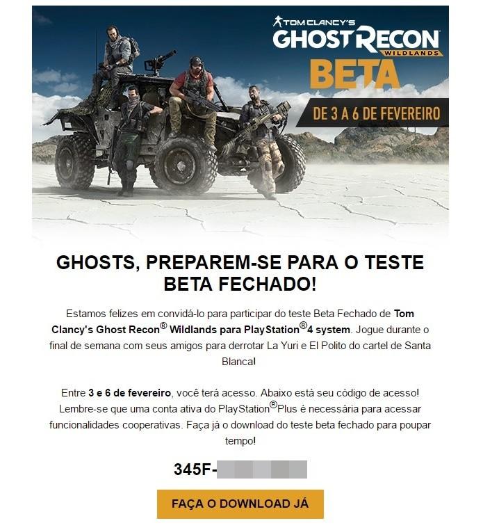 Código para acesso a Ghost Recon: Wildlands é enviado pela própria Ubisoft (Foto: Reprodução/Felipe Demartini)