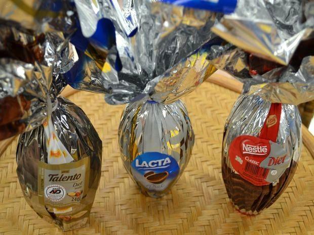 Ovos da Páscoa Diet devem ser consumidos apenas por quem tem diabetes (Foto: Flávio Antunes/G1)