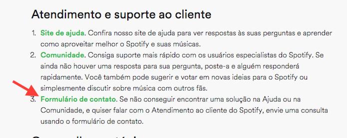 Acessando o formulário de contato do Spotify para comunicar o pedido de exclusão de uma conta (Foto: Reprodução/Marvin Costa)