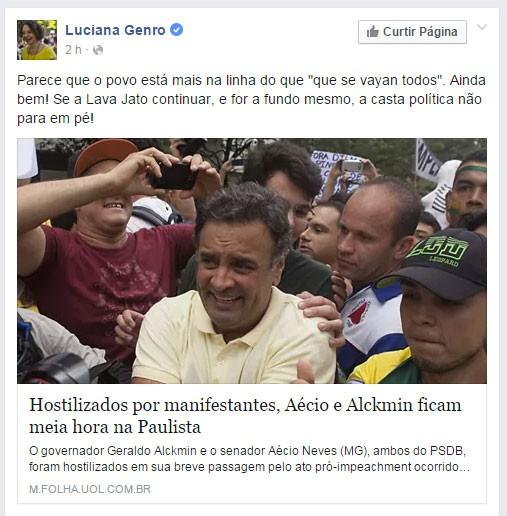 Comentário postado na página da ex-deputada federal do PSOL Luciana Genro sobre as manifestações de 13 de março (Foto: reprodução/facebook)