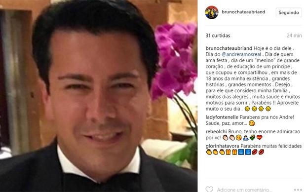 André Ramos ganha homenagem do ex-marido, Bruno Chateaubriand (Foto: Reprodução/Instagram)