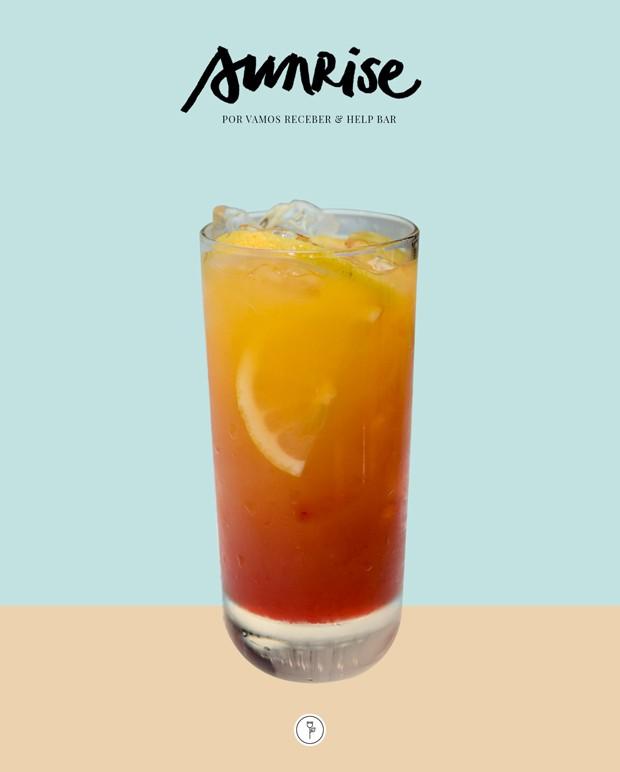 Sunrise: drink colorido leva suco de laranja e cerejas (Foto: Vamos Receber)