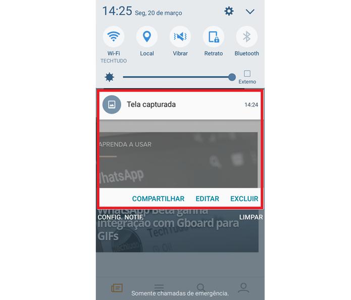 Abrindo a notificação de captura de tela no Galaxy J5 Metal (Foto: Reprodução/Ana Marques)