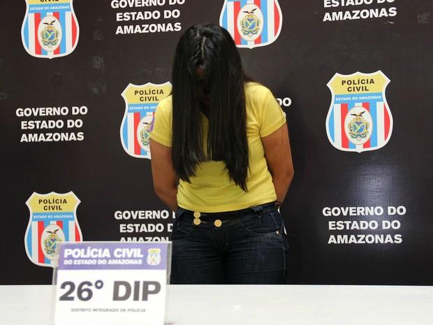 Leila Jerônimo Assunção foi capturada horas após o crime (Foto: Rickardo Marques/G1 AM)