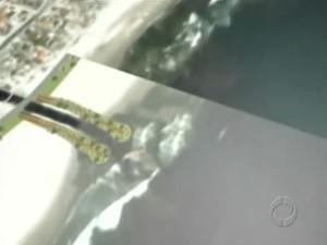 Projeto prevê também paredões de contenção das ondas (Foto: Reprodução/ RPC TV)