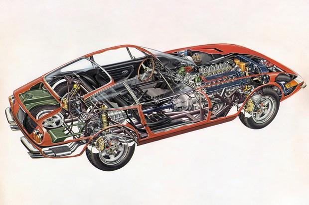 Cutaway mostra não apenas o enorme motor V12, como também o câmbio na traseira (Foto: Divulgação)