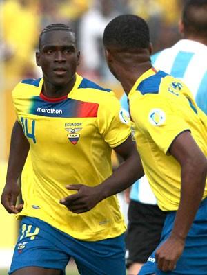 Castillo, comemoração Equador contra a Argentina. (Foto: Agência Reuters)
