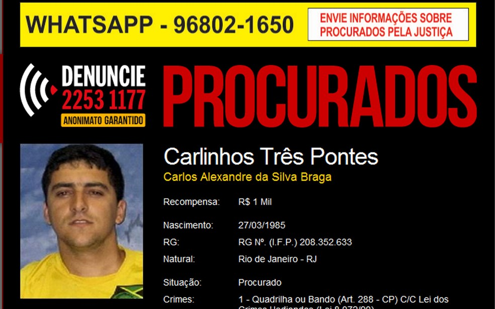 Disque-denúncia oferecia recompensa por informações que ajudassem a capturar o criminoso (Foto: Reprodução)