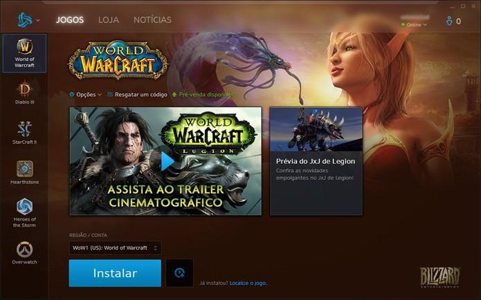 Clique em Instalar para ter World of Warcraft no PC (Foto: Reprodução/André Mello)